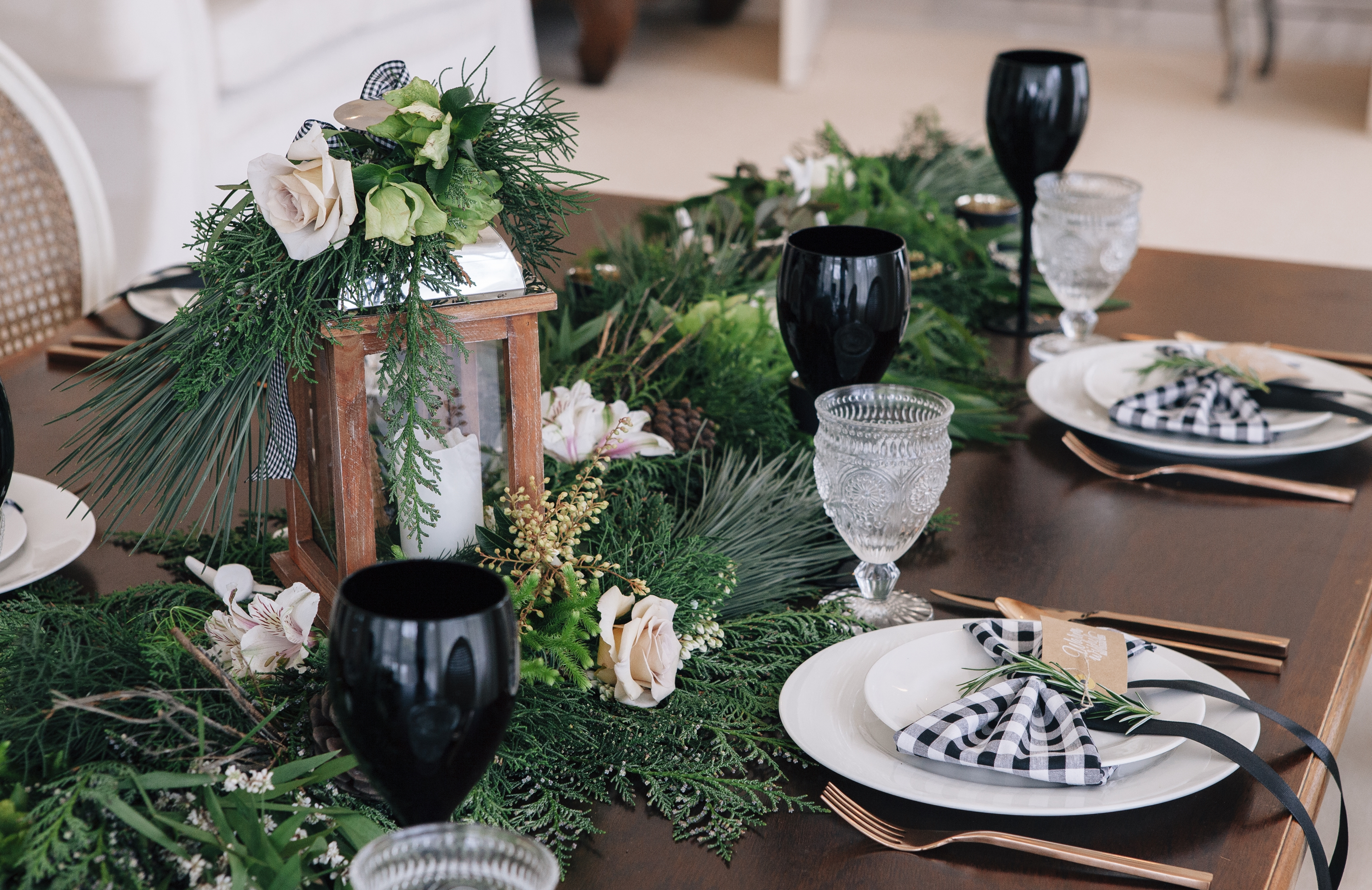 Black White Gingham Tablescape