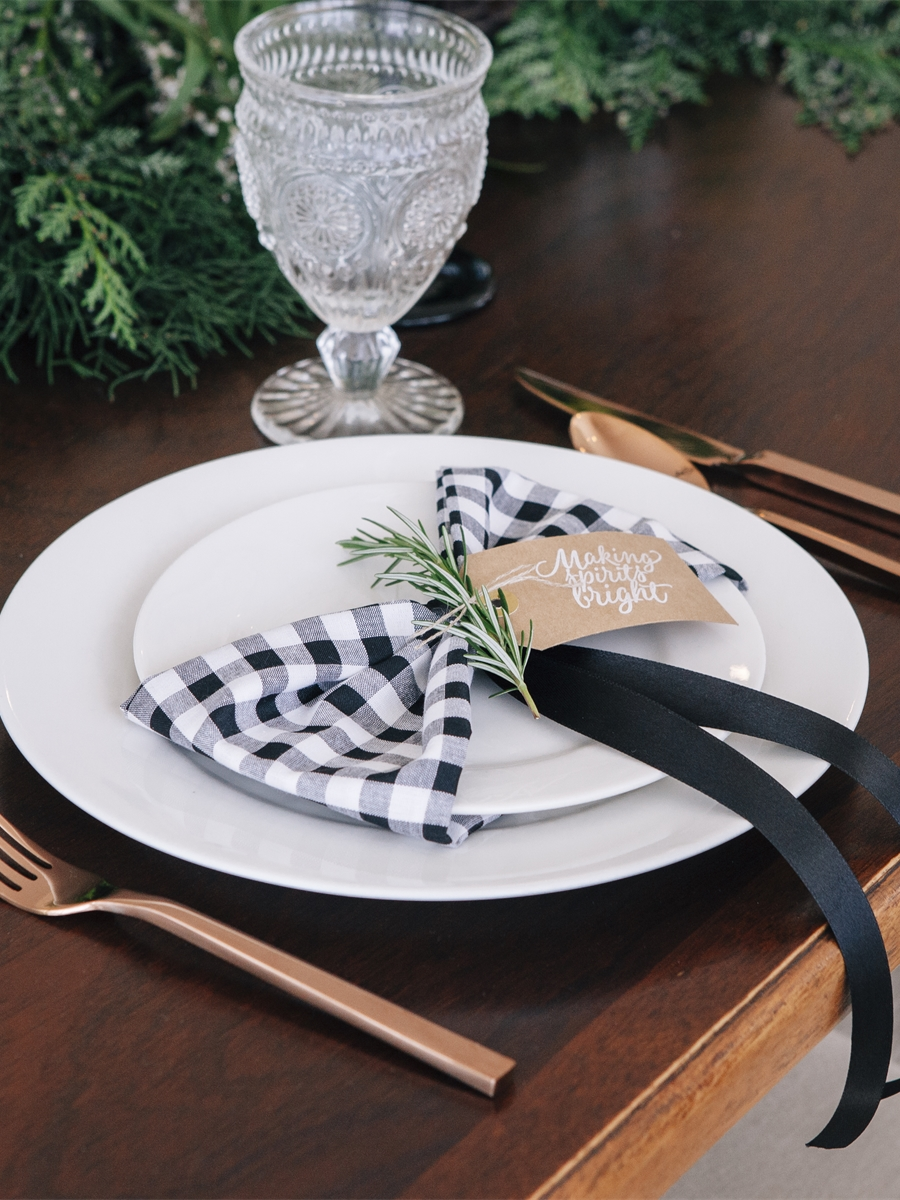 Black White Gingham Napkin