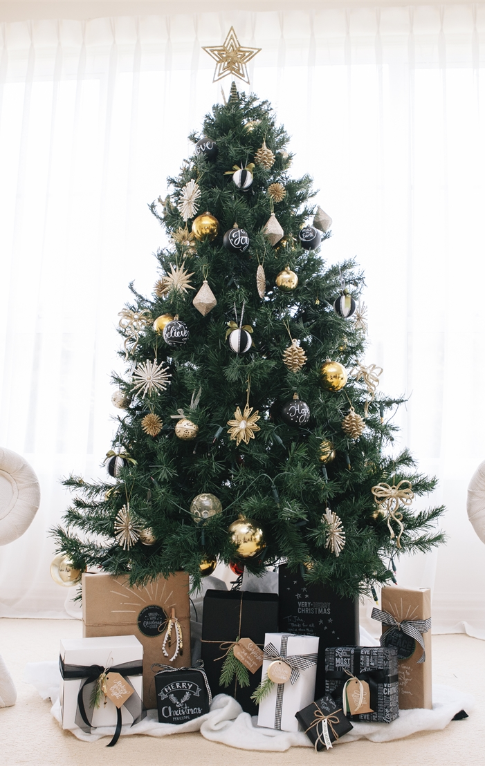 Black, Gold and White Christmas Tree